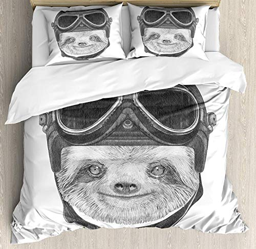 Romance House Sloth Duvet Cover Set Twin Size, 4 Piece Hand Drawn Portrait of a Sloth with Vintage Effect Biker Rider Animal in Urban Life Bedding Set Bedspread for Childrens/Kids/Teens/Adults]()