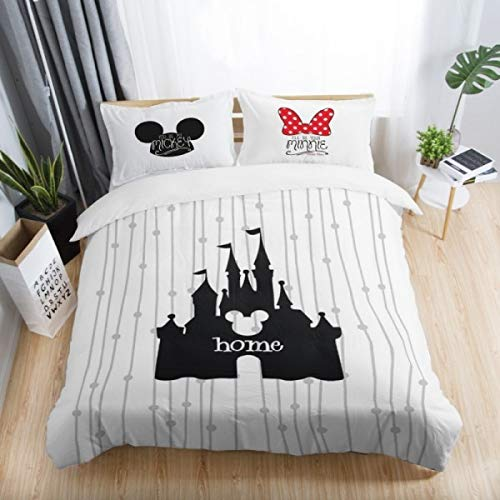 Bedding Sets|Black and White Mickey Minnie Mouse 3D Printed Bedding Sets Adult Twin Full Queen King Size Bedroom Decoration Cover Set|by ATUSY| (Mickey And Minnie Bedding Set For Adults)