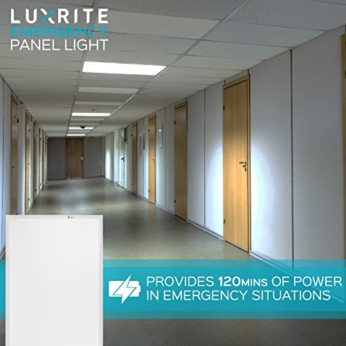 Luxrite 2x4 LED Flat Panel Light with Emergency Battery Backup, 60W 3500K Natural White, 0-10V Dimmable, 6630 Lumens, LED Drop Ceiling Lights, 100-277V, DLC and UL Listed, Ultra Thin Edge Lit - 2 Pack by LUXRITE (Image #3)