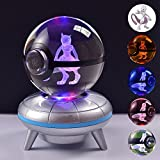 Purpplex Unique 3D Optical Illusion Crystal Anime Pokemon Ball Desk Lamp with Color Changing LED Night Light Base Great Gift for Home Decor - Mewtwo