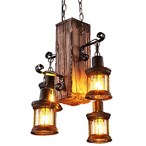 ntage Wooden Hanging Pendant Light Retro Loft Lantern Chandelier 4 Lights Suspension Lighting Fixture for Coffee Shop Restaurant ()