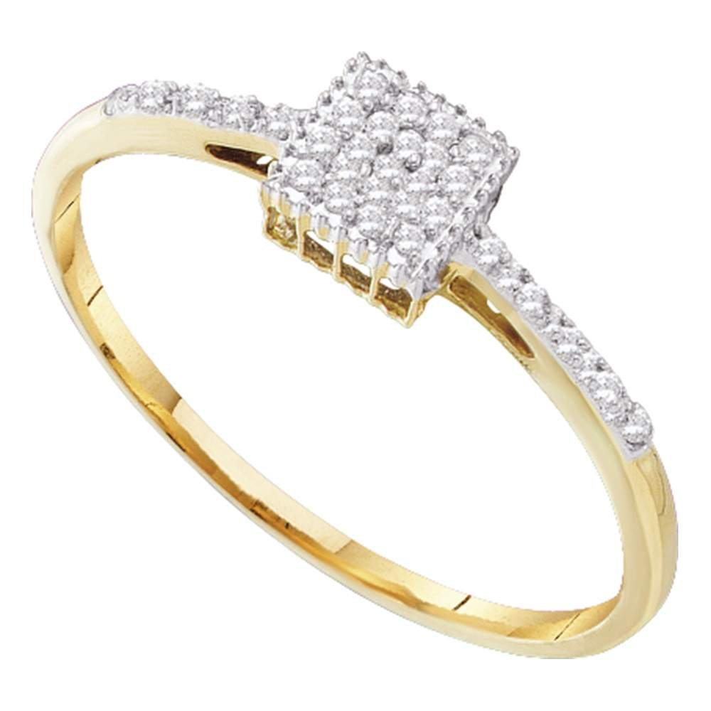 10kt Yellow Gold Womens Round Diamond Cluster Ring 1/12 Cttw