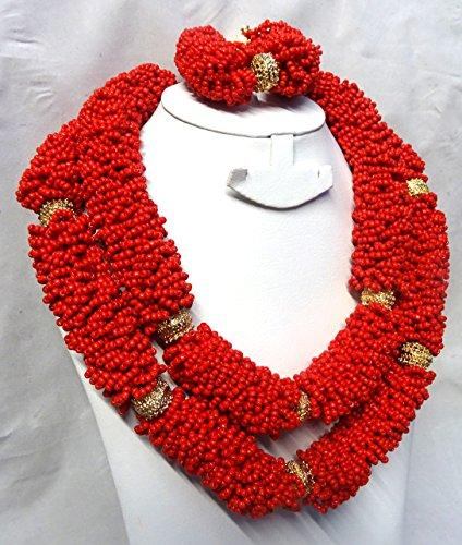 Bold Vert Infusé avec Doré et blanc africain Perles de mariage fête Ensemble de bijoux