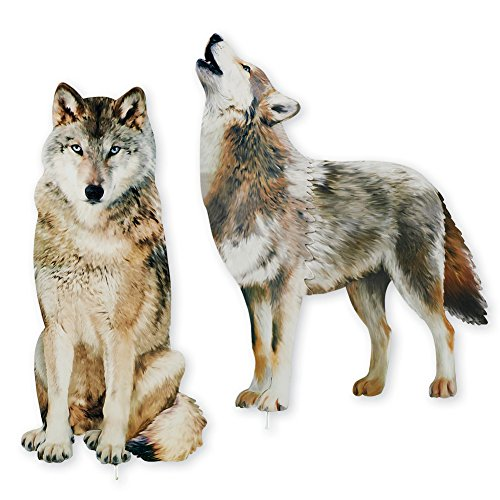 Collections Etc Wolf Decorative Garden Stakes Set, Photorealistic Outdoor Décor, 2 pc