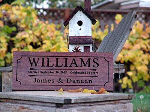 Personalized Family Name Sign Wedding Gift For Couple 5th Anniversary Gift Custom Carved Wooden Signs