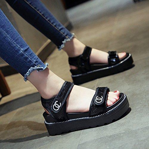 Planos nuevos QQWWEERRTT Mujer Zapatos Deporte Casuales de negro Sandalias universales Moda Verano de q0xxnv6wf4