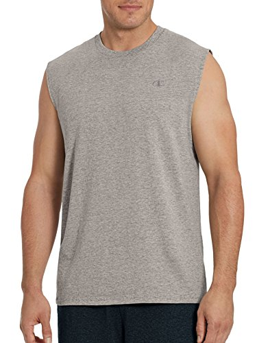 Champion Men's Classic Jersey Muscle T-Shirt, Oxford Gray, L