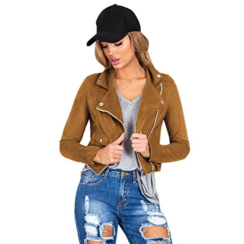 [AIMTOPPY Womens Sexy Winter Slim Biker Motorcycle Leather Jacket Zipper Coat (M, Brown)] (Biker Teen Costumes)