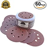5 Inch Sanding Discs Made From Premium Aluminum Oxide 60 Piece Assortment Pack, 8-Hole, Hook-and-Loop, Grit Sizes 40/60/80/120/150/240 - Perfect For Carpenters, Builders, Handymen & DIY-ers!