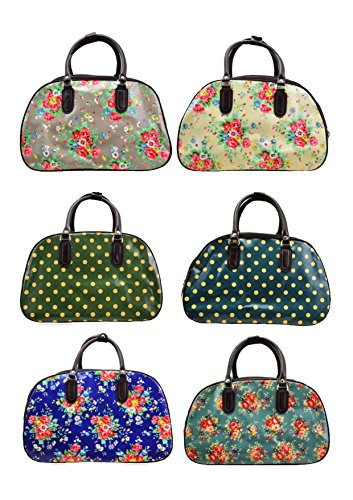 Nelly Beare Handbags: Latest Designer Print Faux Leather Vintage Holdall Cabin Flight Overnight Bag Wheeled Trolley With Pull Out Handle.