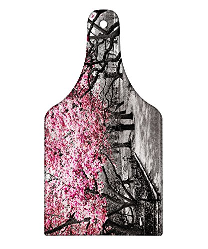 Lunarable NYC Cutting Board, Blossoms in Central Park Landscape with Cherry Trees Forest in Spring Season Picture, Decorative Tempered Glass Cutting and Serving Board, Wine Bottle Shape, Magenta Grey