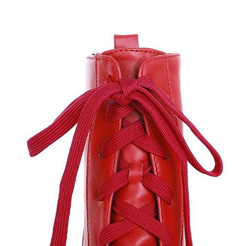 AllhqFashion Mujeres Cordones Puntera Redonda Tacón ancho Caña Baja Botas con Nudo Rojo