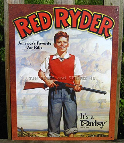 ShopForAllYou Vintage Decor Signs Daisy Red Ryder Boy TIN Sign Vintage bb Gun Toy ad Metal Poster Wall Decor 904