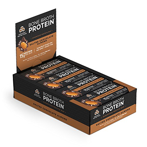 Ancient Nutrition Bone Broth Protein Bars, Salted Chocolate Almond — Gluten Free, Naturally Flavored with 15g Protein, 14g Performance Fats, 11g Fiber, 11g Net Carbs, 230 Calories, 12 Count Pack
