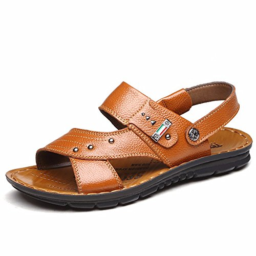Sommer Echtleder Sandalen Männer Strand Schuh Männer Sandalen Männer Schuh Atmungsaktiv Freizeit Schuh Männer Trend ,GelbG,US=9.5,UK=9,EU=43 1/3,CN=45