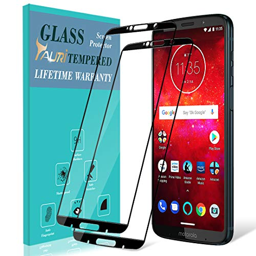 [2-Pack] TAURI Screen Protector for Moto Z3 / Moto Z3 Play, [Full Cover] Tempered Glass Screen Protector with Lifetime Replacement Warranty - Black