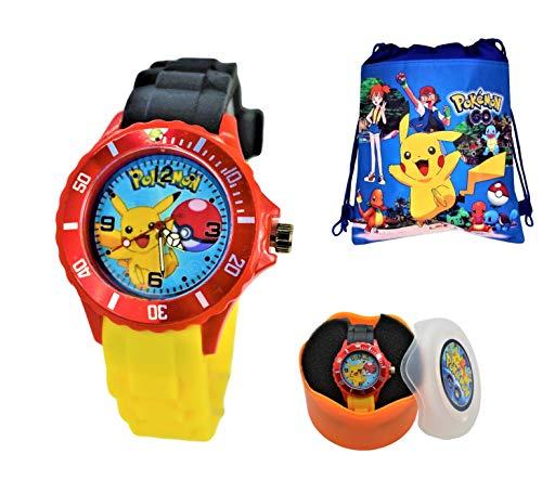 Watches Shoe Children (Unisex Silicone Quartz Analog Wrist Watch for Children & Drawstring Gym/School/Shoes Bag)