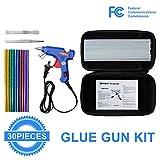 Qrooper Hot Glue Gun with 30pcs Glittery Glue Sticks and Accesorries High Temperature Melting Glue Gun Kit for Home & Office DIY Craft Projects, Sealing & Repairs (20Watt B