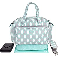 iPack Baby Deluxe Diaper Duffel Diaper Bag Set, Grey/Teal