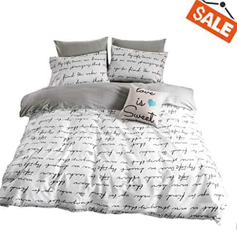 f620416a64f6 VClife Printed Bedding Queen Duvet Cover Kid Bedding Collections- Reversible  Gray White Bedding Set (
