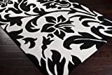Surya Cosmopolitan COS-9062 Classic Hand Tufted 100% Polyester Jet Black 2'6'' x 8' Paisleys and Damasks Runner