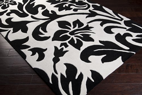 Surya Cosmopolitan COS-9062 Classic Hand Tufted 100% Polyester Jet Black 2'6'' x 8' Paisleys and Damasks Runner by Surya