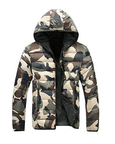 Invernali Giacche Dianshao Cappotti Uomini Outwear Degli Caldi Incappucciati Camuffamento Verde Militare 70x871S