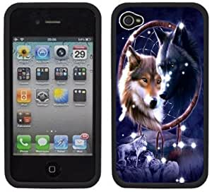 Wolves Wolf Native American Handmade iPhone 4 4S Black Hard Plastic Case