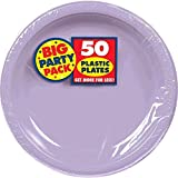 Amscan Big Party Pack 50 Count Plastic Lunch Plates, 10.5-Inch, Lavender