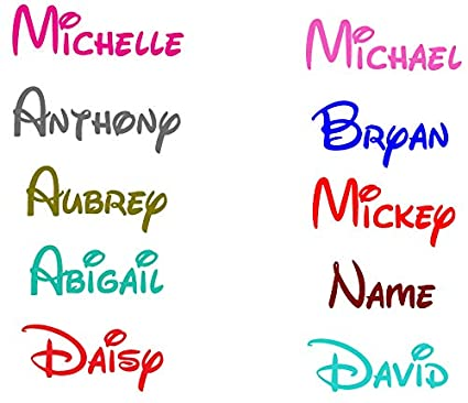 PERSONALIZED NAME ON VINYL DECAL STICKER CHOOSE SIZE FONT AND COLOR