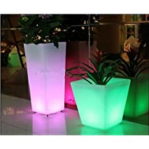 GOWE Outdoor Colorful Height 26CM PP glow Led flower Tub Plant Pot LIGHT WIRELESS BATTERY,Illuminated LED Ice Bucket Square