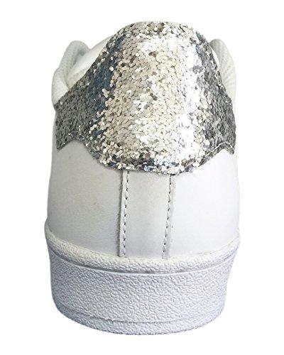 basso Superstar argento Bianco e bianche cono borchie con glitter argento UPwZU0