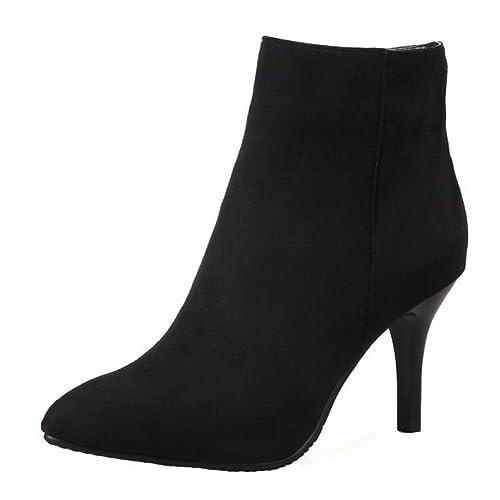 RAZAMAZA Mujer Botines Tacones altos Moda Zapatos Side Cremallera Botas de invierno: Amazon.es: Zapatos y complementos
