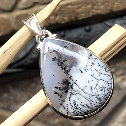 Natural Russian Dentritic Agate 925 Solid Sterling Silver Pear Pendant 35mm Long