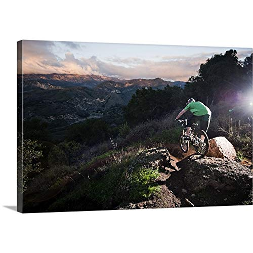 A Young Man Rides his Downhill Mountain Bike on Knapps Castle Trail Canvas Wall Art Print, 18