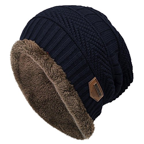 Bifast Fleece Cable Knitted Beanie Warm Winter Hat Caps Women Men