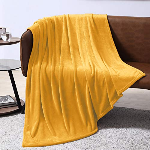 - EXQ Home Fleece Blanket Yellow Throw Blanket for Couch or Bed - Super Soft Microfiber Fuzzy Flannel Blanket for Adults or Pet (Lightweight,Non Shedding)