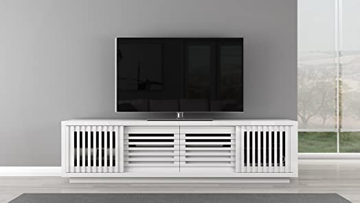 82 High Gloss White Lacquer Media Console. Model