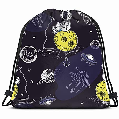 Seamless Space Pattern Astronaut Fishing Rod Alien Science Drawstring Bag Backpack Sports Gym Storage Bags