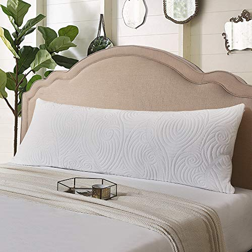 DOWNCOOL Memory Fiber Filling Body Pillow- Removable Zippered Bamboo Outer Pillow Cover- Breathable Hypoallergenic Bed Pillow for Long Side Sleeper- 20 x 54 inch