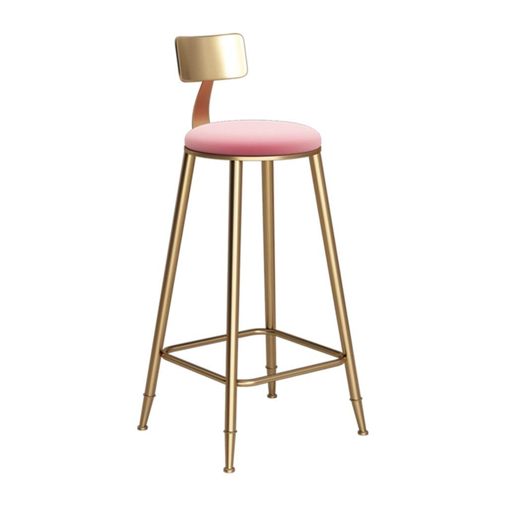 434360cm Nordic Bar Chair High Stool Princess Wind for Family Coffee Shop Kitchen Multi-Size Optional Pink (Size   43  43  68cm)