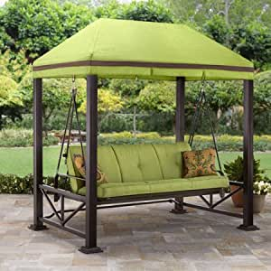 Comfortable Delux Three Person Outdoor Swing with Gazebo, Adds a Classic Touch to Your Backyard, Steel Posts with a Hidden Anchor System, Provides Exceptional Durability, Green + Expert Guide