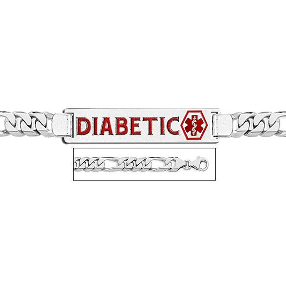 PicturesOnGold.com 14K White Gold Medical ID Bracelet W/Figaro Chain with Enamel - 7-1/2 Inch WITH ENGRAVING