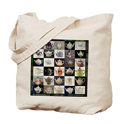CafePress - 30 Teapots Tote Bag, Printed Both Sides - Natural Canvas Tote Bag, Cloth Shopping Bag