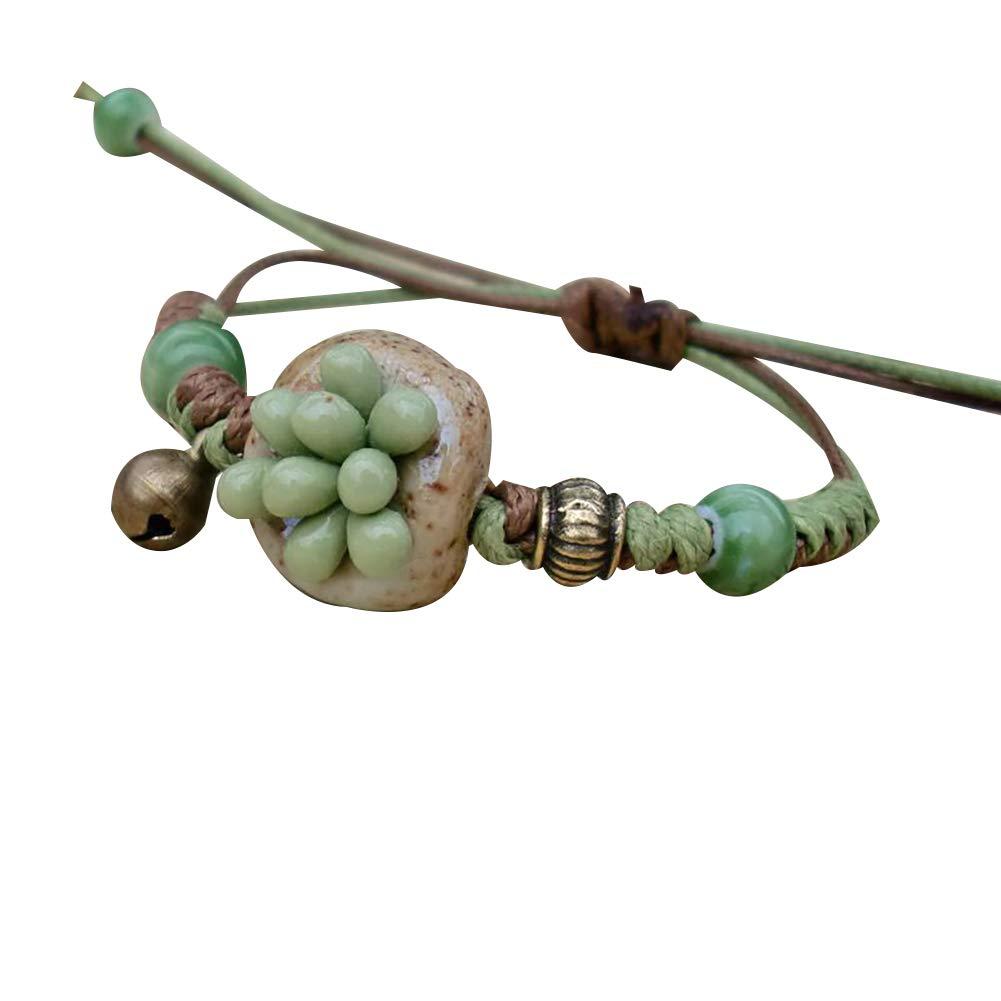 Everrikle Bracelet Bangle Jewelry,Ethnic Succulent Ceramic Flower Bracelet Handmade Women Hand