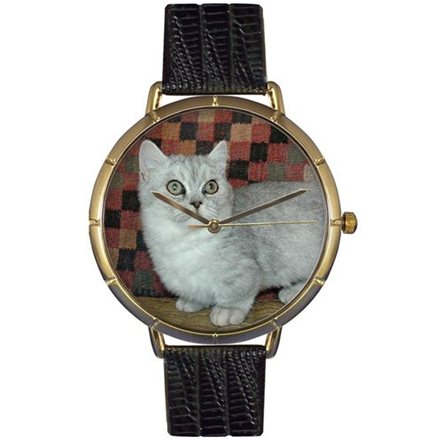 Whimsical Watches Women's N0120047 Munchkin Cat Black Leather And Goldtone Photo - Munchkin Miniatures
