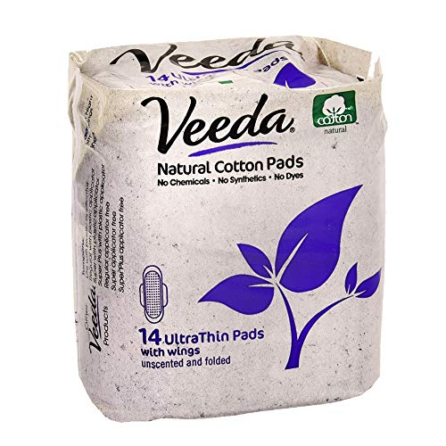 Cotton Sanitary Napkins - Veeda Ultra Thin Pads with Wings, Natural Cotton, Hypoallergenic, Folded 14 Count