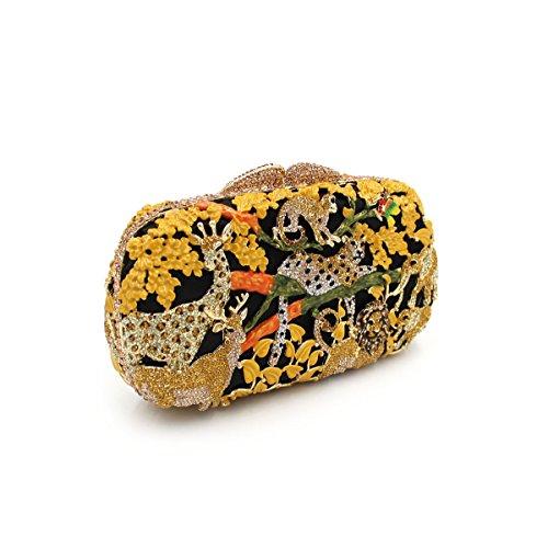 forêt luxe main strass à de Sac dîner de creux cristal de D métal diamant Sac de animale de Sac de de tTXwq5A