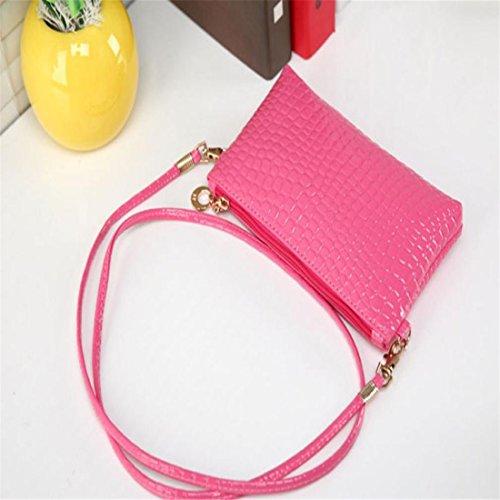 Handbag Bags pink Crossbody blue Clutch Women size one Shoulder Crocodile Brezeh Messenger Leather 4w78qnCxY