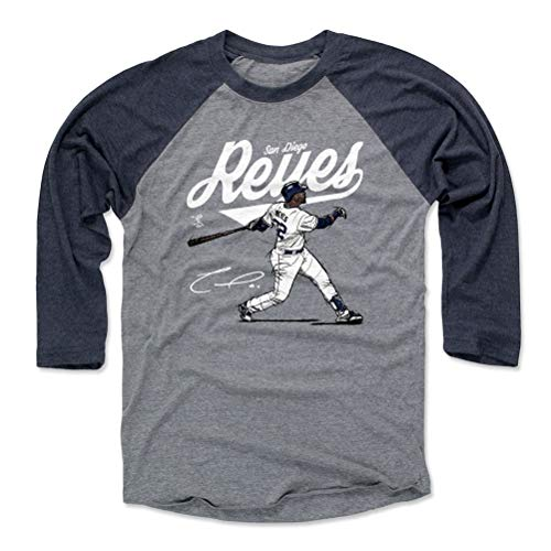 500 LEVEL Franmil Reyes Baseball Tee Shirt (Large, Navy/Heather Gray) - San Diego Baseball Raglan Tee - Franmil Reyes Score W ()